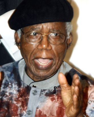 Nigerian writer, 70, Chinua Achebe is pictured on January 19, 2009 during a welcoming ceremony at the Transcorp Hilton Hotel in Abuja upon his return to Nigeria for the first time in over 10 years. Achebe, whose most famous work is 1958's