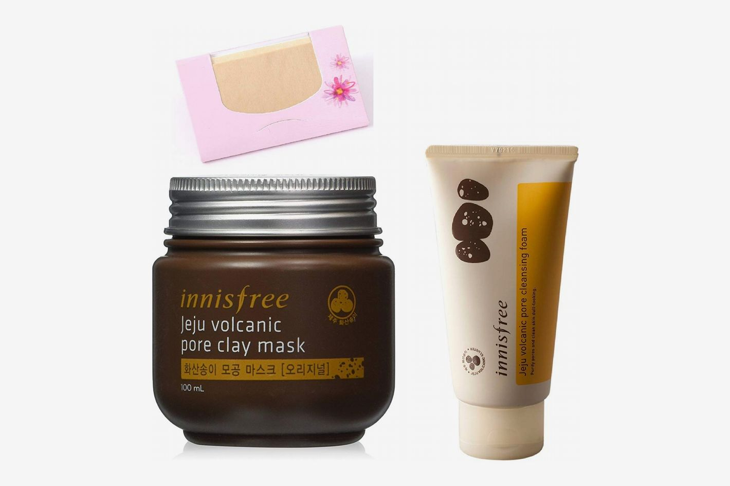 Innisfree Jeju Volcanic Pore Clay Mask + Innisfree Jeju Volcanic Pore Clay Mask + Hemp Blotting Papers Bundle