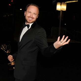 LOS ANGELES, CA - AUGUST 25: Actor Aaron Paul, winner of Outstanding Supporting Actor in a Drama Series for 'Breaking Bad,' attends the 66th Annual Primetime Emmy Awards Governors Ball held at Los Angeles Convention Center on August 25, 2014 in Los Angeles, California. (Photo by Kevin Winter/Getty Images)