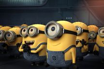 "Gru's minions (voiced by JEMAINE CLEMENT) wait for their orders in Universal Pictures and Illumination Entertainment's inaugural 3-D CGI feature, ""Despicable Me"".  The film tells the story of one of the world?s greatest super-villains, who has just met his greatest challenge in three little girls."