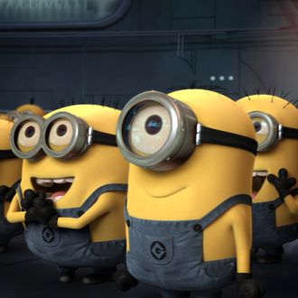 Gru's minions (voiced by JEMAINE CLEMENT) wait for their orders in Universal Pictures and Illumination Entertainment's inaugural 3-D CGI feature,