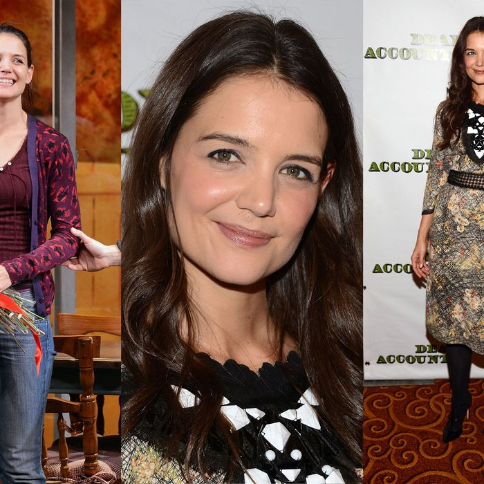 Katie Holmes in character (left); at the after-party (right).