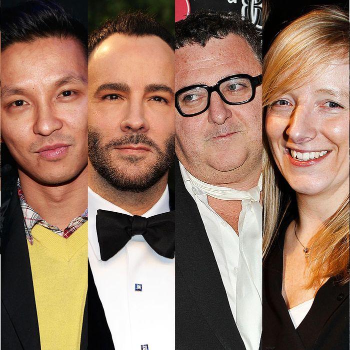 From left: Riccardo Tisci, Prabal Gurung, Tom Ford, Alber Elbaz, Sarah Burton, Olivier Theyskens.