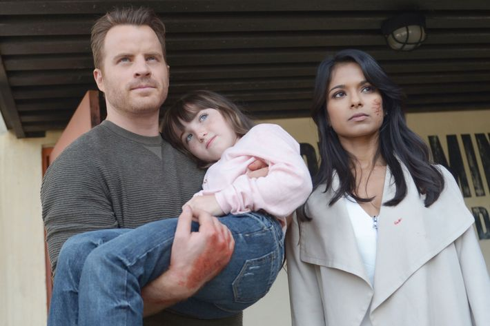SECOND CHANCE: L-R: Rob Kazinsky, guest star Kennedi Clements and Dilshad Vadsaria in the