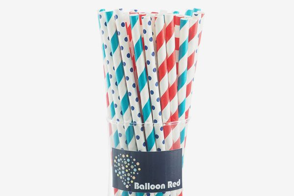 Balloon Red Biodegradable Paper Drinking Straws