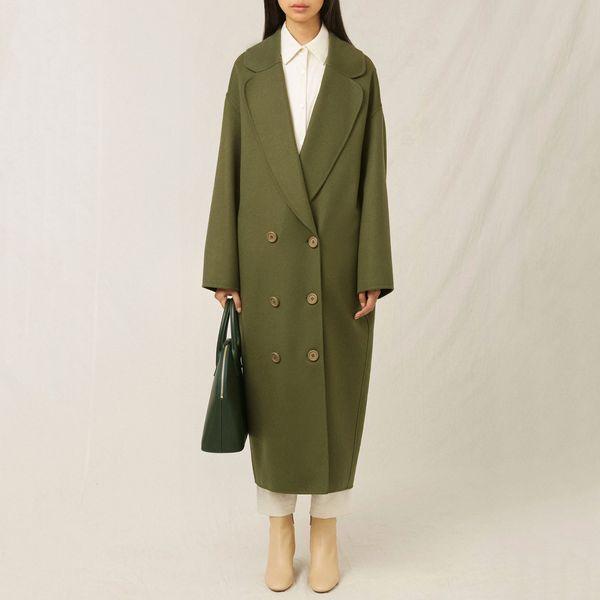 Italian Wool Cashmere Moss Green Oversized Long Coat