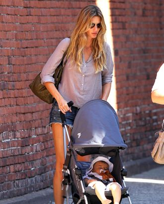 Gisele and her broccoli-loving baby.