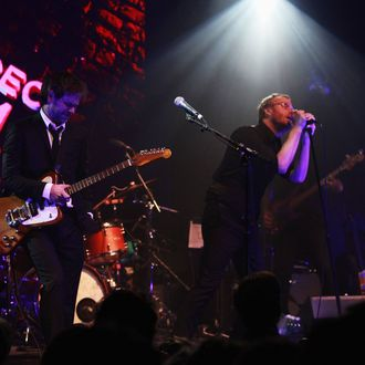 Bryce Dessner (L) and Matt Berninger of The National perform at the Opening Night After Party and Performance during the 2013 Tribeca Film Festival on April 17, 2013 in New York City.