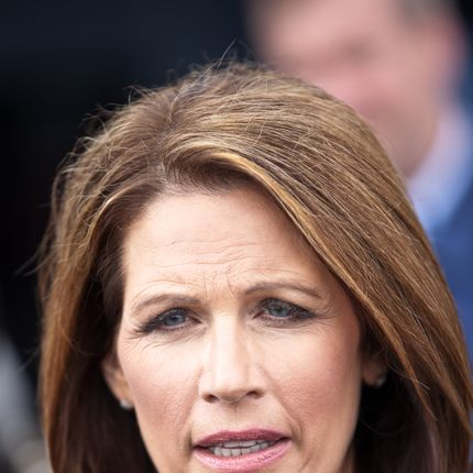 MT PLEASANT, SC - NOVEMBER 10:  Republican presidential candidate Michele Bachmann talks with the media after giving a foreign policy address on November 10, 2011 in Mt Pleasant, South Carolina.  About 30 protestors disrupted the address aboard the USS Yorktown and then marched out peacefully.