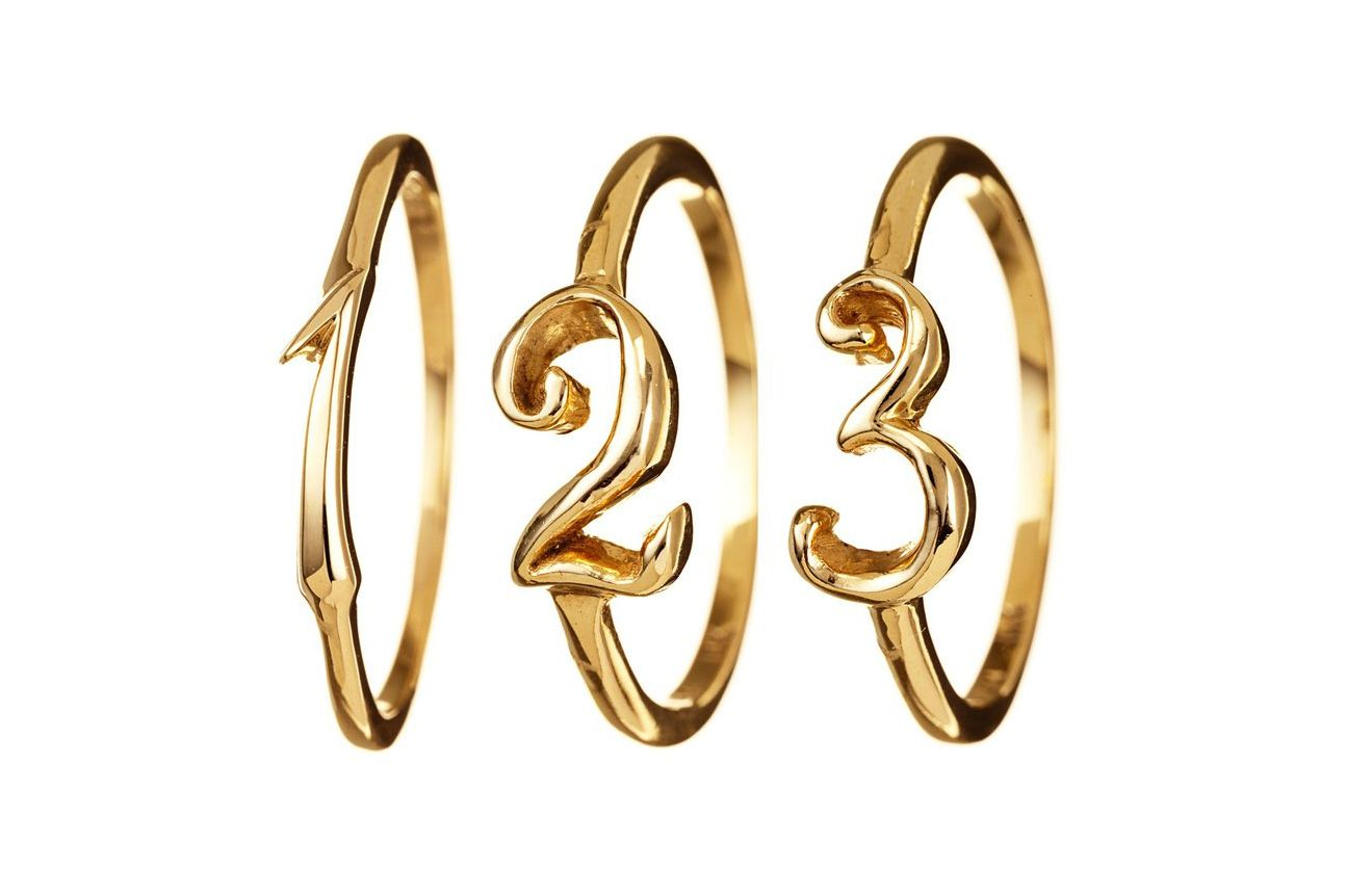 Lulu Frost 14K Gold Code Number Rings