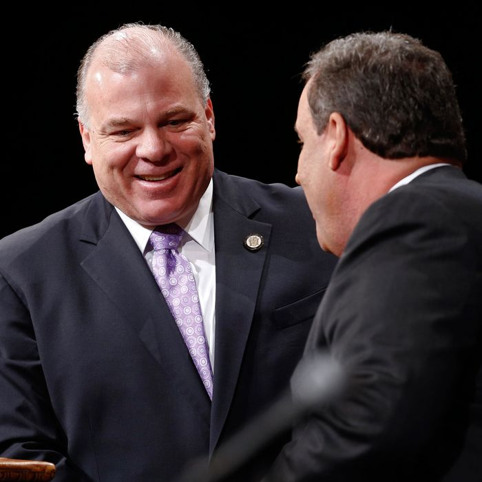 TRENTON, NJ - JANUARY 21: New Jersey Senate President Steve Sweeney greets New Jersey Gov. Chris Christie prior to being sworn in for his second term on January 21, 2014 at the War Memorial in Trenton, New Jersey. Christie begins his second term amid controversy surrounding George Washington Bridge traffic and Hurricane Sandy relief distribution. (Photo by Jeff Zelevansky/Getty Images)