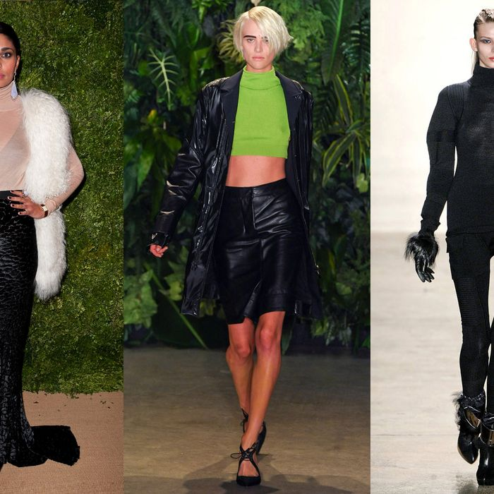 Rachel Roy in a Celine top; a spring runway look by Altuzarra; and a fall runway look by Ohne Titel.