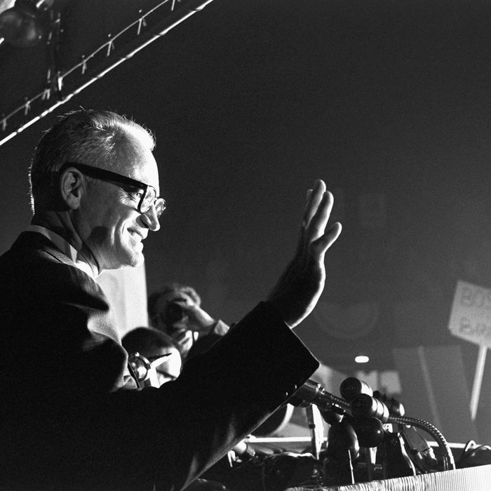 Barry Goldwater, the 1964 Republican nominee for the Presidency, speaks to a Young Republicans rally in San Francisco.