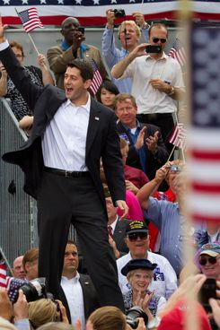 Republican vice presidential candidate Paul Ryan (R-Wis.) greets the crowd after being introduced by Mitt Romney on August 11, 2012 in Norfolk, Virginia. Romney on Saturday chose the House of Representatives budget committee chairman as his running mate.