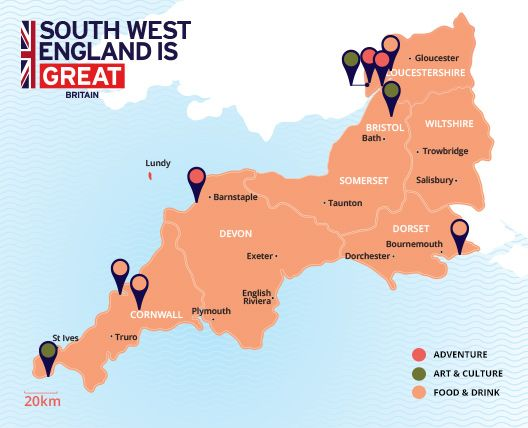 Tourist destination map of South West England