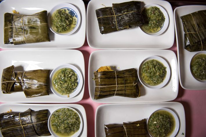 Pork tamales with pepita salsa verde, from Table Table (in Hudson).