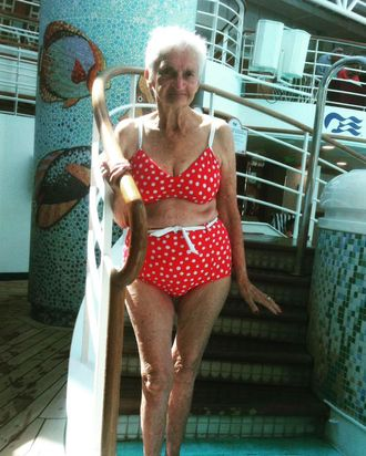 Irene, 90, sporting a bikini.