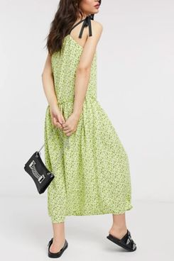 Topshop dropped waist midi dress in lime