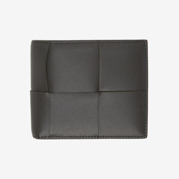 Bottega Veneta Grey Intrecciato Bifold Wallet