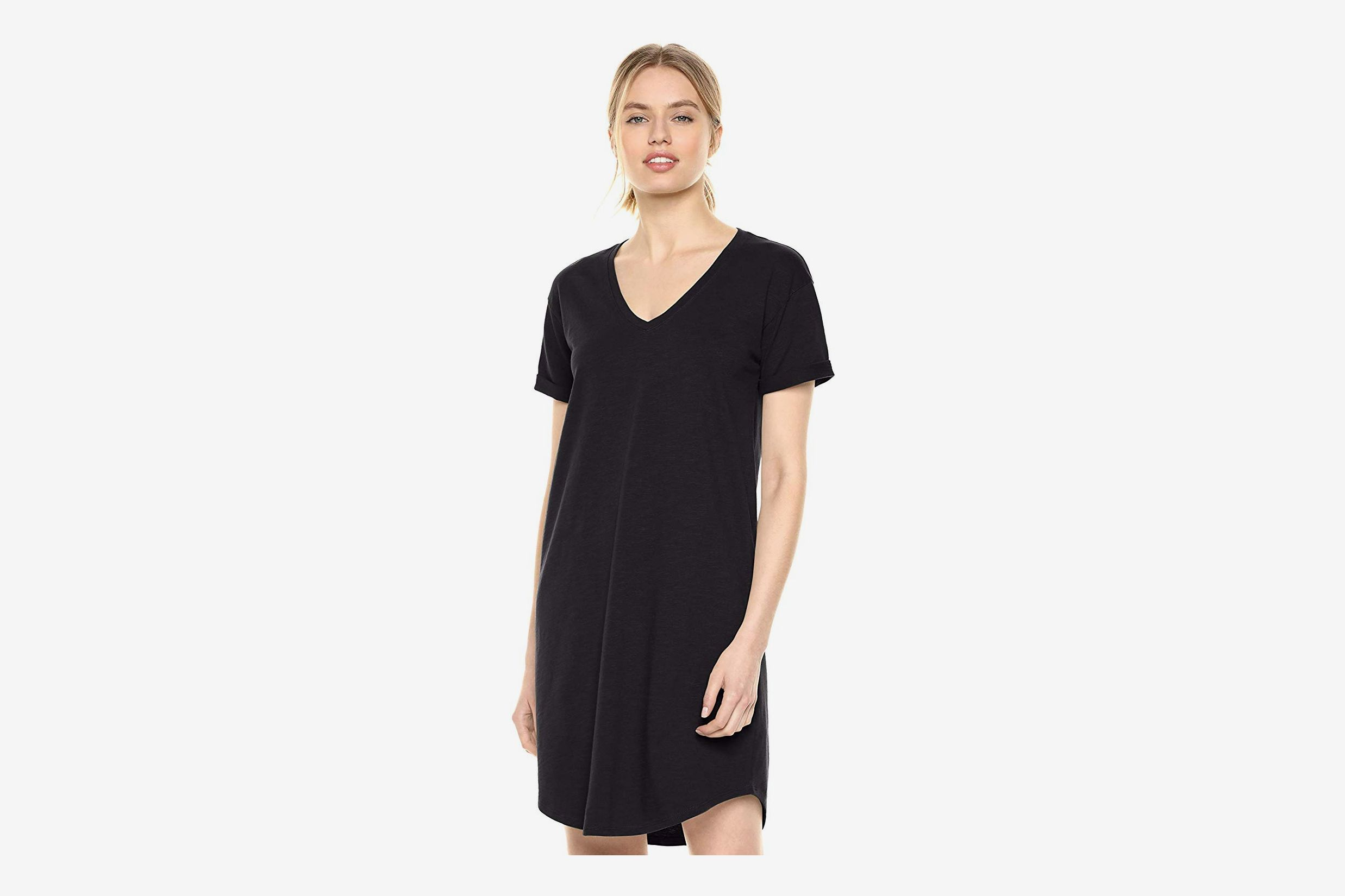 Daily Ritual Women's Lived-in Cotton Roll-Sleeve V-Neck T-Shirt Dress
