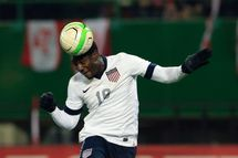 United States' Eddie Johnson jumps for the ball during a FIFA World Cup 2014 friendly football match between Austria and United States on November 19, 2013 at the Ernst Happel Stadium, in Vienna. Austria won 1-0.