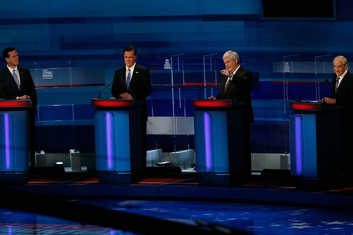 MYRTLE BEACH, SC - JANUARY 16: Republican presidential candidates (L-R), f ormer U.S. Sen. Rick Santorum (R-PA), former Massachusetts Gov. Mitt Romney, former U.S. House Speaker Newt Gingrich (R-GA), and U.S. Rep. Ron Paul (R-TX) participate a Fox News, Wall Street Journal sponsored debate at the Myrtle Beach Convention Center, on January 16, 2012 in Myrtle Beach, South Carolina. Voters in South Carolina will head to the polls on January 21st. to vote in the Republican primary election to pick their choice for U.S. presidential candidate.