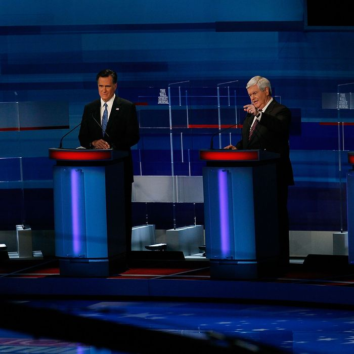 MYRTLE BEACH, SC - JANUARY 16: Republican presidential candidates (L-R), f ormer U.S. Sen. Rick Santorum (R-PA), former Massachusetts Gov. Mitt Romney, former U.S. House Speaker Newt Gingrich (R-GA), and U.S. Rep. Ron Paul (R-TX) participate a Fox News, Wall Street Journal sponsored debate at the Myrtle Beach Convention Center, on January 16, 2012 in Myrtle Beach, South Carolina. Voters in South Carolina will head to the polls on January 21st. to vote in the Republican primary election to pick their choice for U.S. presidential candidate. (Photo by Joe Raedle/Getty Images)
