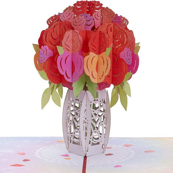 Paper Love Roses Bouquet Pop-up Card