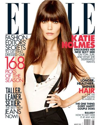 Katie Holmes, wearing Holmes & Yang pants and suspenders on her new Elle cover.
