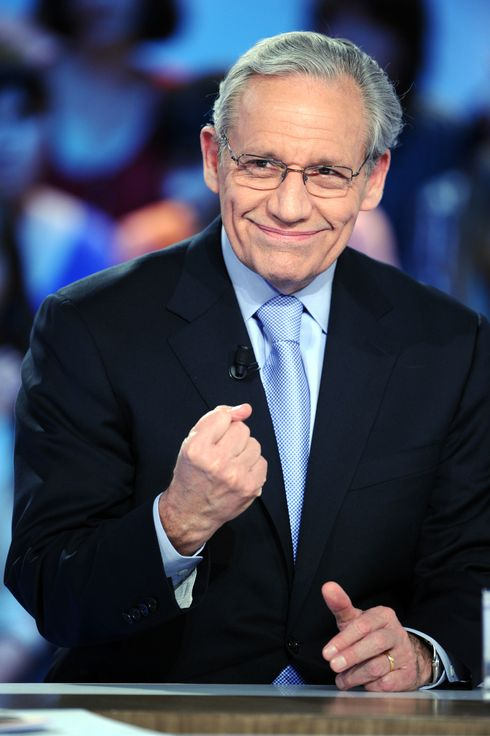 "US journalist Bob Woodward takes part in the TV show ""Le Grand Journal"" on Canal+ channel, on April 7, 2011 in Paris. Woodward, and investigative reporter who works for the Washington Post since 1971, did much of the original news reporting on the Watergate scandal, along with his colleague Carl Bernstein."