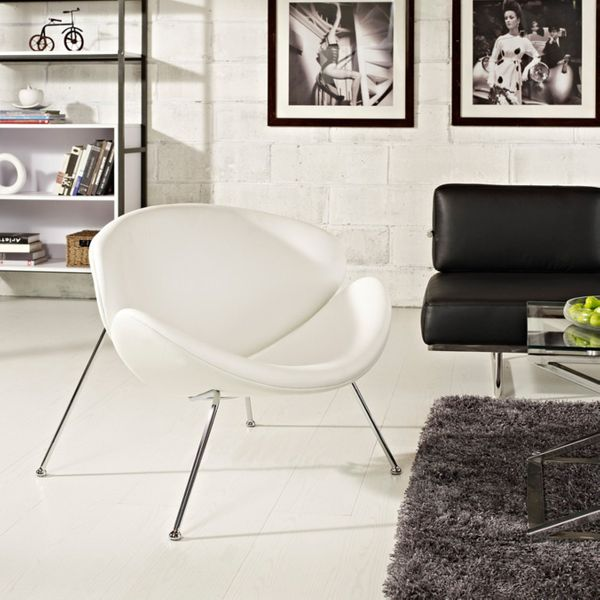 Modway Nutshell Leatherette Lounge Chair, White