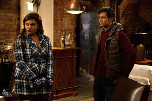 "THE MINDY PROJECT: Mindy (Mindy Kaling, L) attends a meeting with Rishi (guest star Utkarsh Ambudkar, R) in the ""Lahiri Family Values"" episode of THE MINDY PROJECT airing Tuesday, Feb. 17 (9:30-10:00 PM ET/PT) on FOX. ?2015 John P. Fleenor/FOX"