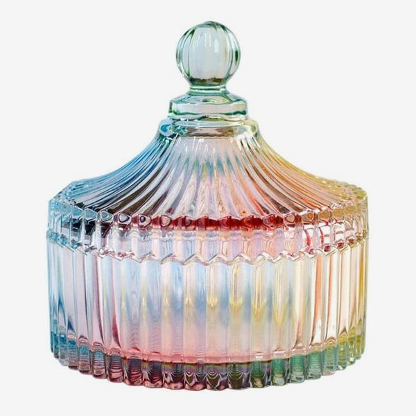 CHOOLD Colorful Tent Shaped Crystal Candy Jar With Lid
