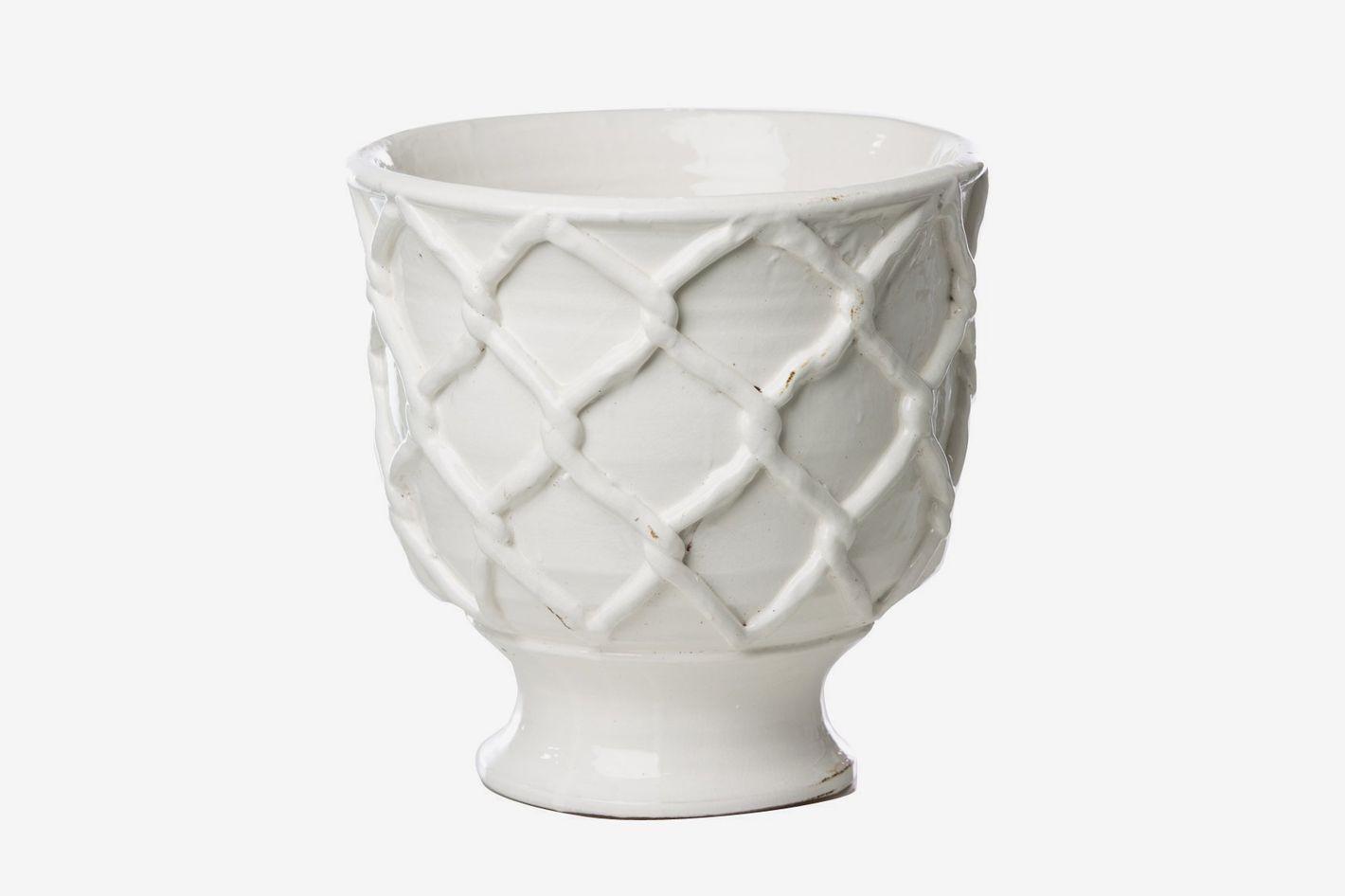 Abigail's Ceramic Vinci Criss Cross Pattern Planter, White, Large 11-inch