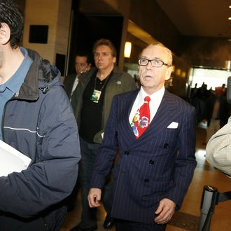 QUEENS, NY - APRIL 25: Sanford Rubenstein (C), attorney to the Bell family, leaves after the not guilty verdict was read by Judge Arthur Cooperman in the Sean Bell shooting trial at the State Supreme Court April 25, 2008 in the Queens borough of New York City. Bell died during the firing of 50 police bullets outside a club in Jamaica, Queens on November 25, 2006. The three detectives, Gescard F. Isnora, Michael Oliver and Marc Cooper, were found not guilty on all charges in the shooting death of Bell. (Photo by Julia Xanthos-Pool/Getty Images) *** Local Caption *** Sanford Rubenstein