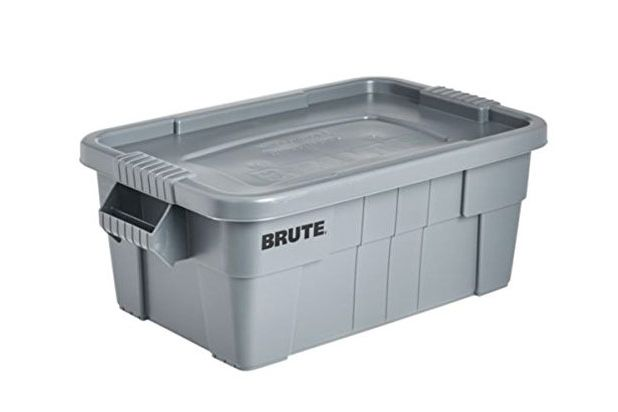Rubbermaid Commercial Brute Tote Storage Bin With Lid, 14-Gallon