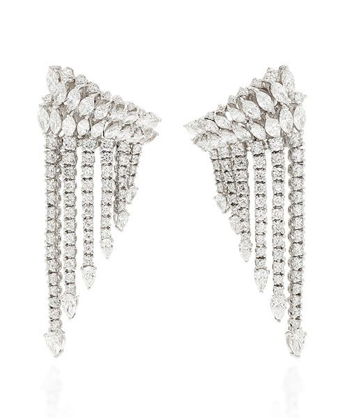 Yeprem Diamond Fringe 18K White Gold Earrings