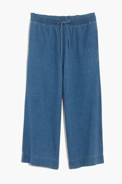 Madwell Indigo Smocked Huston Pull-On Crop Pants