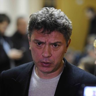Opposition leader Boris Nemtsov appears in Moscow's Tverskoi Court. Along with other demonstrators, on February 25 Nemtsov was brought to the Court after taking part in a rally in support of so-called Bolotnaya Prisoners.