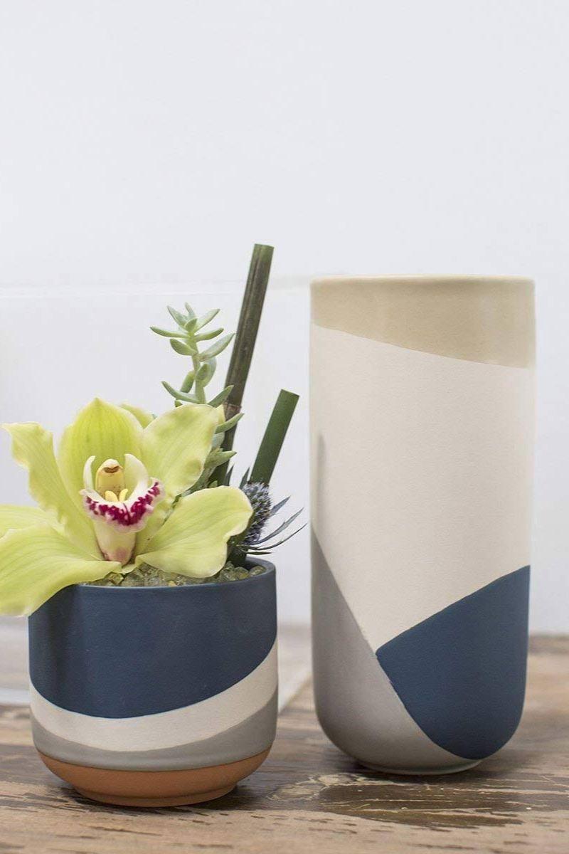 Blue Gray and Cream Round Ceramic Vase