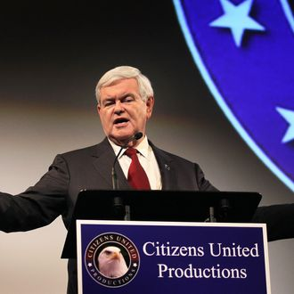 DES MOINES, IA - DECEMBER 14: Republican presidential candidate Newt Gingrich addresses guests gathered for the premiere screening of