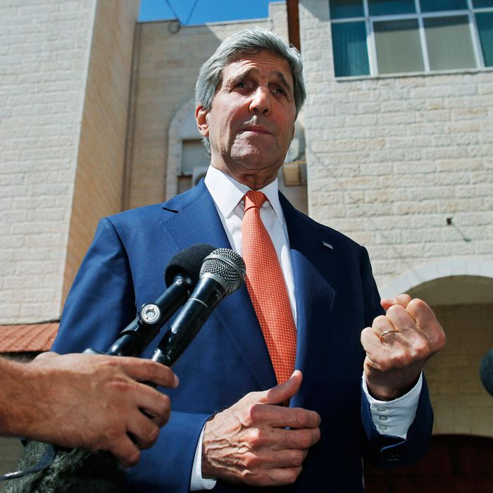 U.S. Secretary of State John Kerry speaks to reporters after meeting with Palestinian President Mahmoud Abbas in the West Bank city of Ramallah on Wednesday, July 23, 2014. Kerry is meeting with United Nations Secretary-General Ban Ki-moon, Israeli Prime Minister Benjamin Netanyahu, and Abbas as efforts for a cease-fire between Hamas and Israel continues. (AP Photo/Pool)