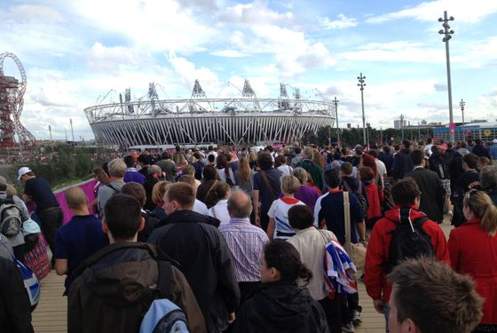 LONDON, ENGLAND - AUGUST 04:  A general view as spectators make their way across the bridge to the Olympic Stadium on Day 8 of the London 2012 Olympic Games on August 4, 2012 in London, England.  (Photo by Getty Images/Getty Images)