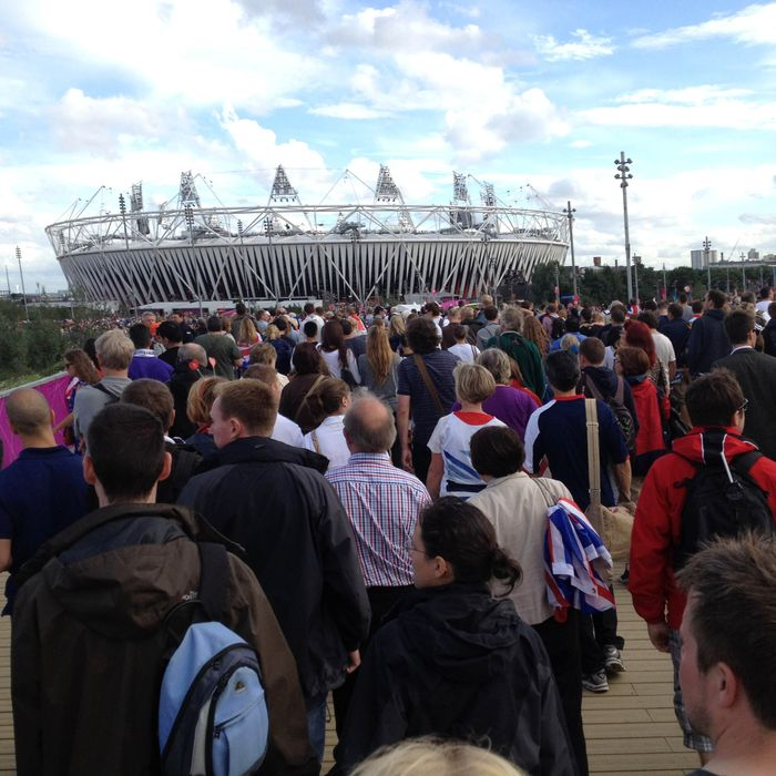 A general view as spectators make their way across the bridge to the Olympic Stadium on Day 8 of the London 2012 Olympic Games on August 4, 2012 in London, England.