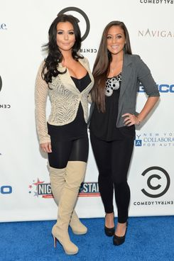 "Jenni ""J Woww"" Farley and Sammi ""Sweetheart"" Giancola attend Comedy Central's night of too many stars: America comes together for autism programs at The Beacon Theatre on October 13, 2012 in New York City."