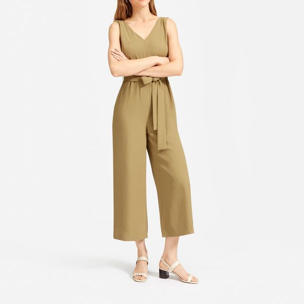 Everlane Japanese GoWeave Essential Jumpsuit - strategist best everlane tan sleeveless jumpsuit