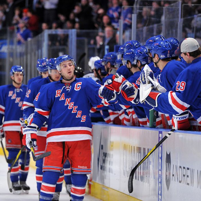 Ryan Callahan #24 of the New York Rangers is congratulated after scoring a first period goal against the Winnipeg Jets on January 24, 2012 at Madison Square Garden in New York City.