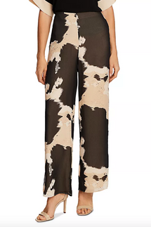 Vince Camuto Abstract Cow Print Wide-Leg Pants