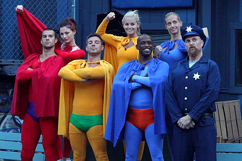 """""""Up Up and Away"""" -- The Houseguests for the CBS series Big Brother 13 (L-R) Brendan, Rachel, Jeff, Jordan, Keith, Porsche, and Adam participate in the """"Up Up and Away"""" superhero-themed veto competition. Big Brother currently broadcasts three nights weekly, on Sundays (8:00-9:00 PM, ET/PT), Wednesdays (8:00-9:00 PM, ET/PT) and the LIVE eviction show, hosted by Julie Chen, Thursdays (9:00–10:00 PM, live ET/delayed PT) on the CBS Television Network.             Photo: Bill Inoshita/CBS           ? CBS Broadcasting, Inc. All Rights Reserved."""