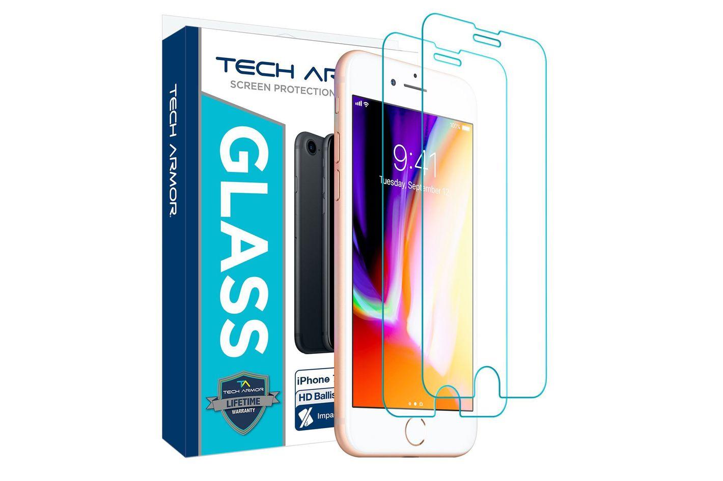 Tech Armor Apple iPhone 7, iPhone 6, iPhone 8 Ballistic Glass Screen Protector [2-Pack]